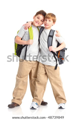 Happy smiling school boys. Isolated over white background - stock photo