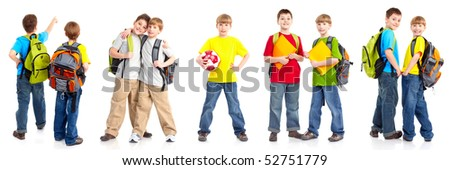 Happy smiling schoolboys. Isolated over white background - stock photo