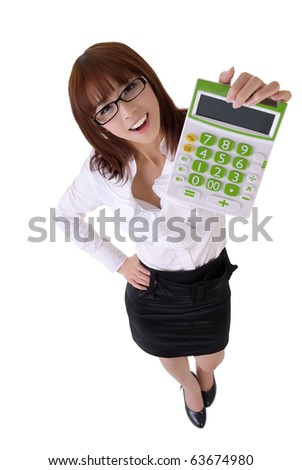 Happy smiling secretary holding calculator machine, full length portrait isolated on white. - stock photo