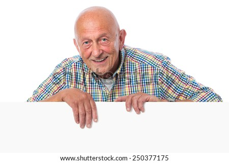 Happy smiling senior man holds a blank board - stock photo