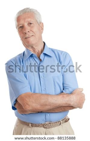 Happy smiling senior man looking at camera isolated on white background - stock photo