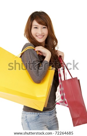 Happy smiling shopping girl, closeup portrait on white background. - stock photo
