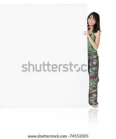 Happy smiling sport girl of Asian holding big blank board, full length portrait isolated on white background. - stock photo