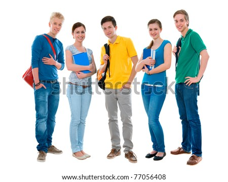 Happy smiling students standing together. Isolated on white background - stock photo