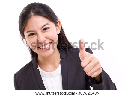 happy, smiling, successful business woman showing thumb up gesture - stock photo