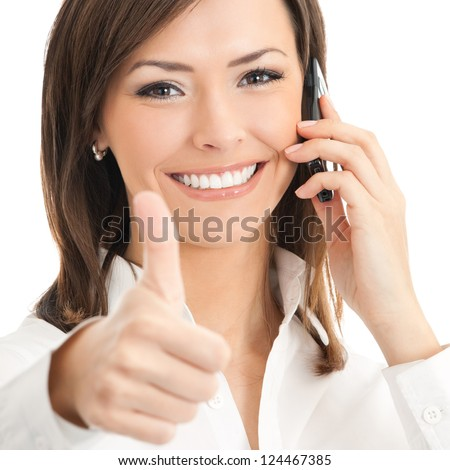 Happy smiling successful businesswoman with cell phone and thumbs up gesture, isolated on white background - stock photo