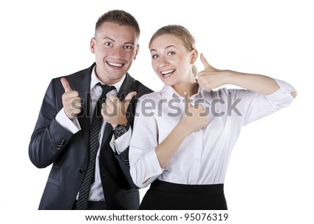 Happy smiling successful gesturing businesspeople - stock photo