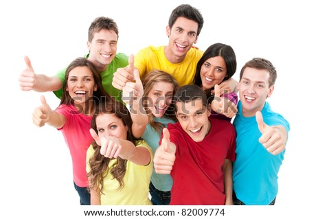 Happy smiling successful young friends showing thumb up isolated on white background - stock photo