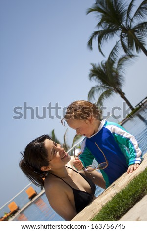 Happy smiling summer family vacation holiday or vacations fun - stock photo