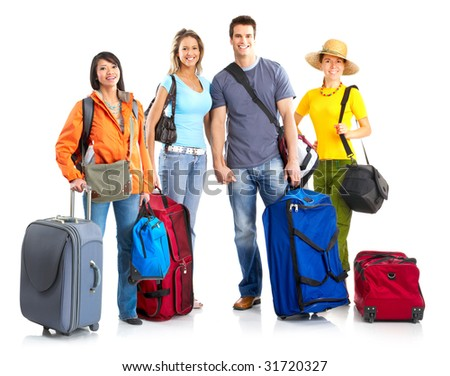 Happy smiling tourists. Over white background - stock photo