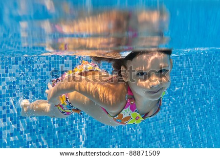 Happy smiling underwater child in swimming pool. Kid sport