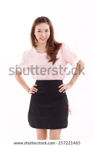 happy, smiling woman arms akimbo with apron, cooking or housewife concept