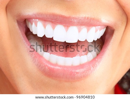 Happy smiling woman. Dental health background. - stock photo