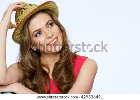 Happy smiling woman face portrait. Smile with teeth. Isolated white background. - stock photo