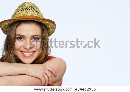 Happy smiling woman face portrait. Smile with teeth. Isolated white background.