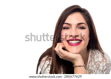 Happy smiling woman hands on her chin