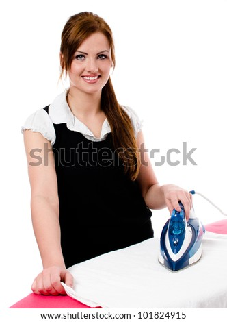 Happy smiling woman housewife ironing clothes -  isolated on white background