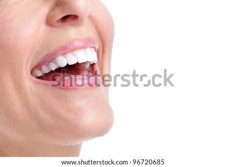 Happy smiling woman. Isolated on white background. - stock photo
