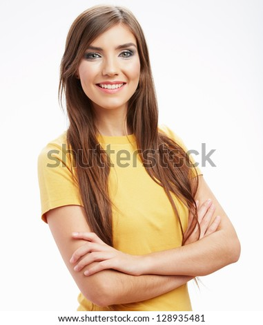 Happy smiling woman,  isolated white background . - stock photo