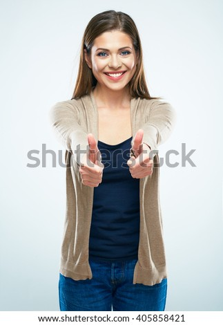 Happy smiling woman show thumbs up. Smiling girl with long hair isolated portrait. - stock photo