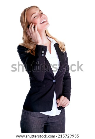 Happy smiling woman talking on phone, making deal,  interacting conversation, isolated on white background, successful business people concept - stock photo