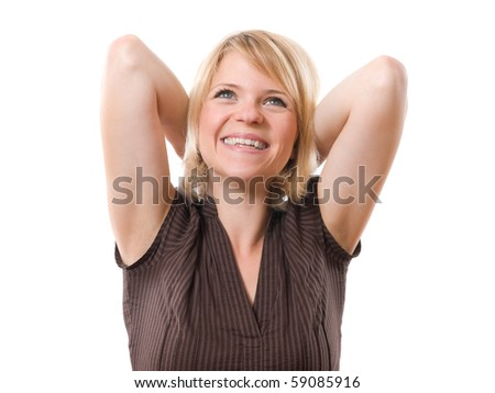 happy smiling woman with hands behind head isolated on white - stock photo