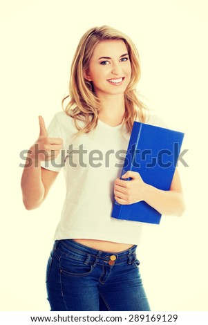 Happy smiling woman with ok hand sign - stock photo