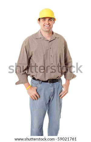 Happy, smiling worker isolated on white background - stock photo