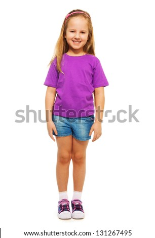 Happy smiling 6 years old girl  full height portrait isolated on white - stock photo