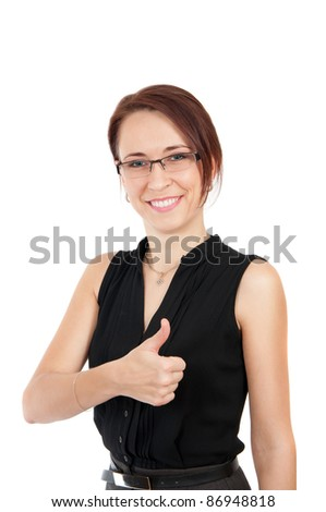 happy smiling young beautiful business woman showing thumbs up sign isolated over white background - stock photo
