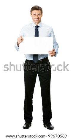 Happy smiling young business man showing blank signboard, isolated over white background - stock photo