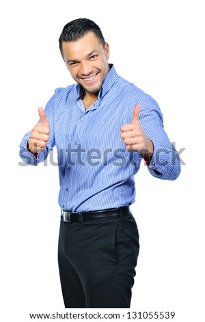 Happy smiling young business man with thumbs up gesture, isolated over white background - stock photo