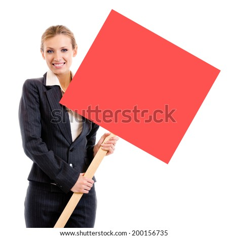 Happy smiling young business woman showing blank red signboard, isolated over white background - stock photo