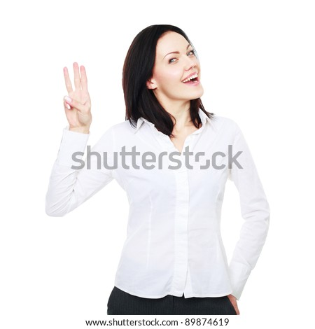 Happy smiling young business woman showing three fingers, isolated on white background - stock photo