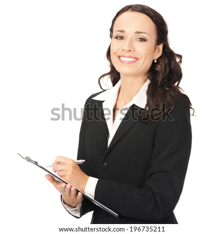 Happy smiling young businesswoman with clipboard writing, isolated on white background - stock photo