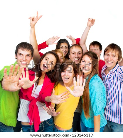 Happy smiling young group of people standing together - stock photo