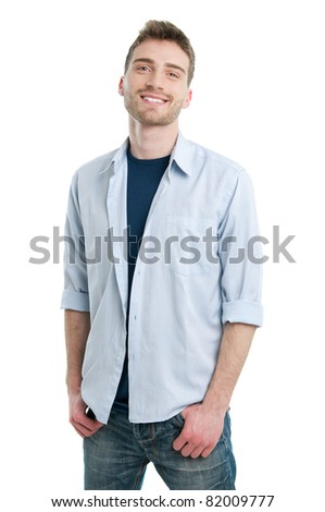 Happy smiling young guy posing isolated on white background