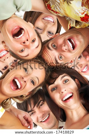 Happy smiling young people - stock photo