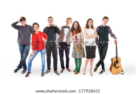 Happy smiling young people group isolated on white - stock photo