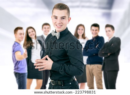 Happy smiling young people portrait - stock photo