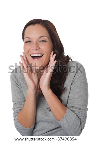 Happy smiling young woman on white background
