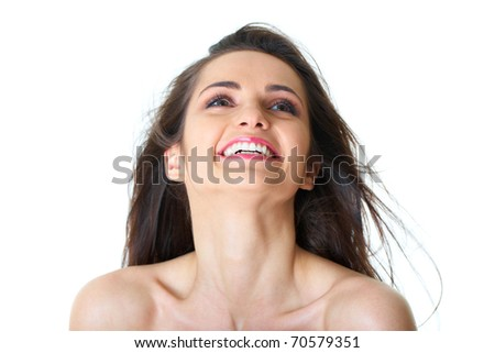 happy smilling young beautiful female isolated on white - stock photo