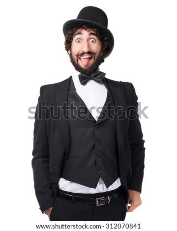 happy smoking man crazy sign - stock photo