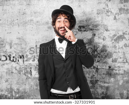happy smoking man joking - stock photo