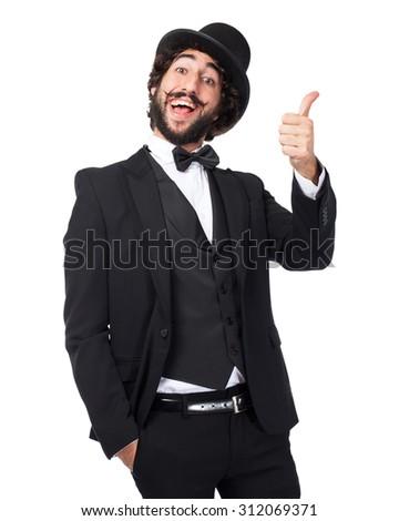 happy smoking man okay sign - stock photo