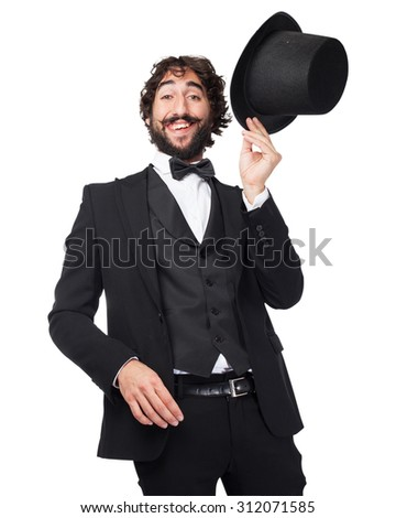 happy smoking man smiling - stock photo