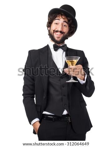 happy smoking man with alcoholic drink - stock photo