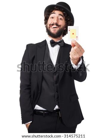 happy smoking man with poker cards - stock photo