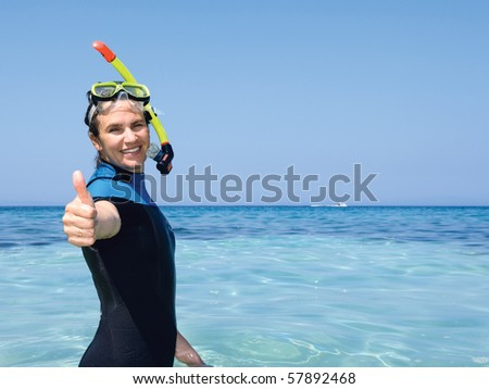 Happy Snorkeling Woman - stock photo