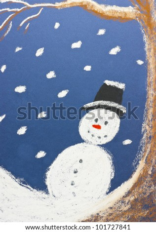 Happy snowman and falling snowflakes. Snowy winter night scene hand drawn by me on a textured blue pastel paper. Christmas holiday concept. - stock photo